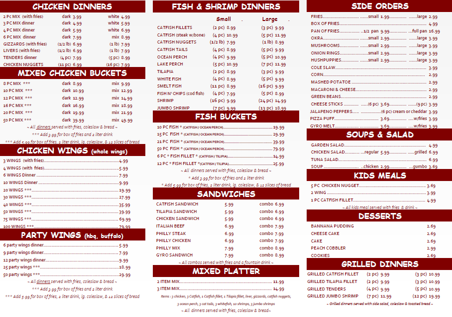 Menu hardy 39 s fish chicken for Fish express menu